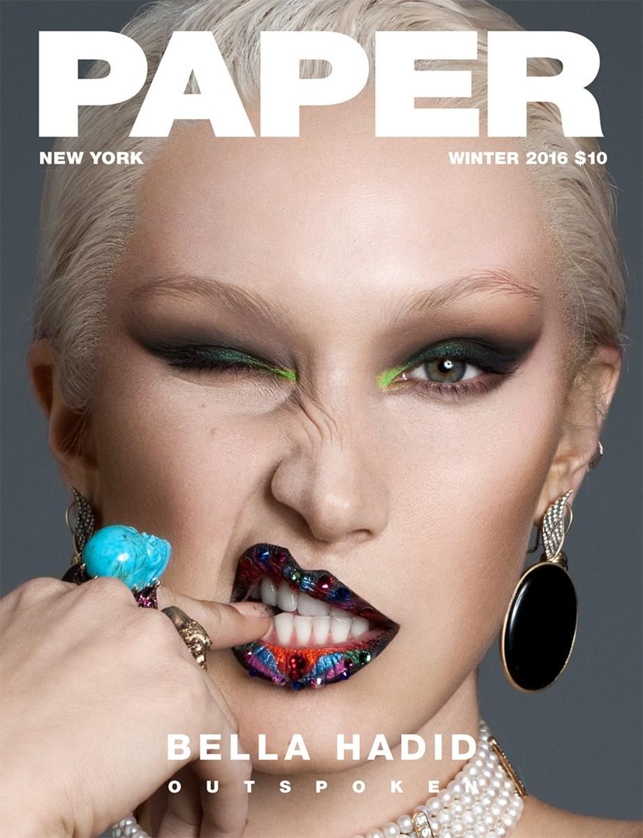 Bella Hadid for Paper Magazine's winter 2016 cover. Photo: Nicolas Moore