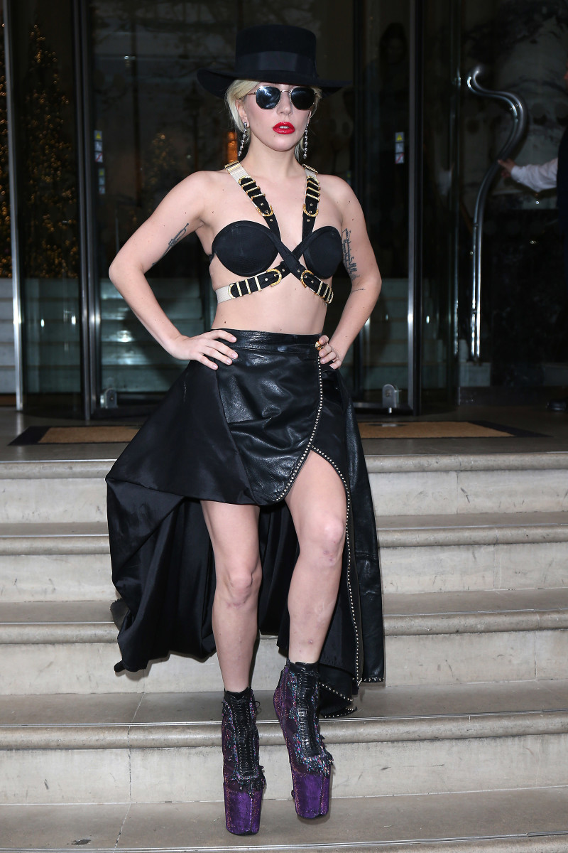 Lady Gaga wearing an archive Gianni Versace look in London. Photo: Neil Mockford/Getty Images