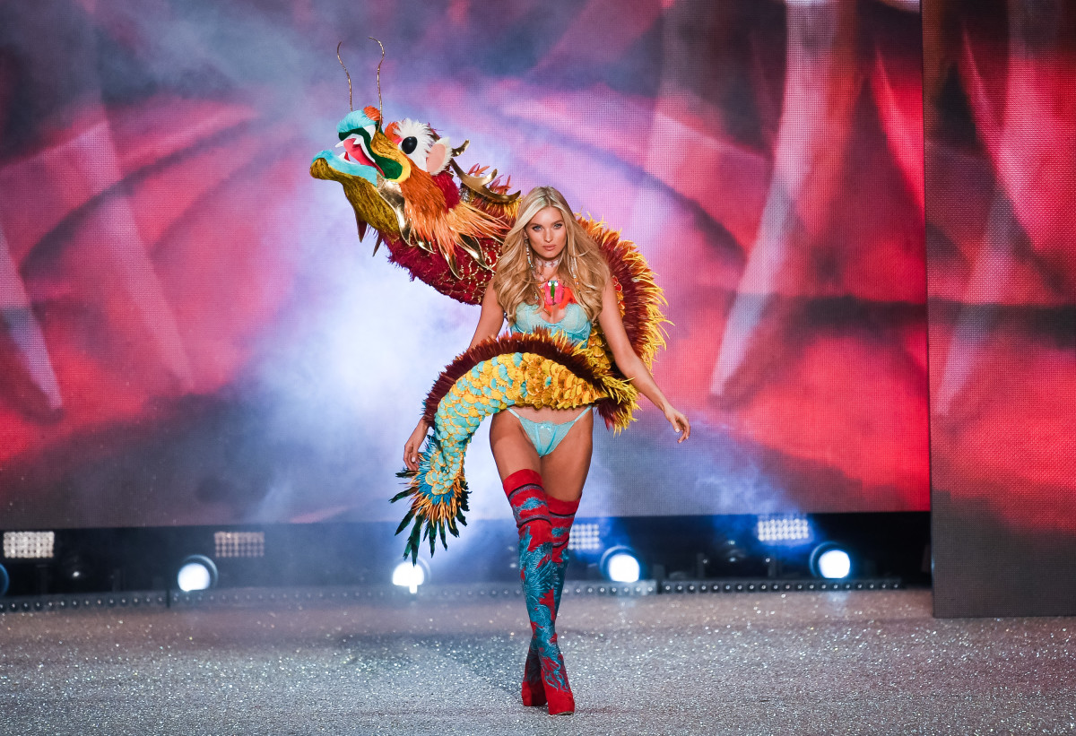 One example of dragon imagery used on the Victoria's Secret runway for the 2016 show. Photo: Samir Hussein/Getty