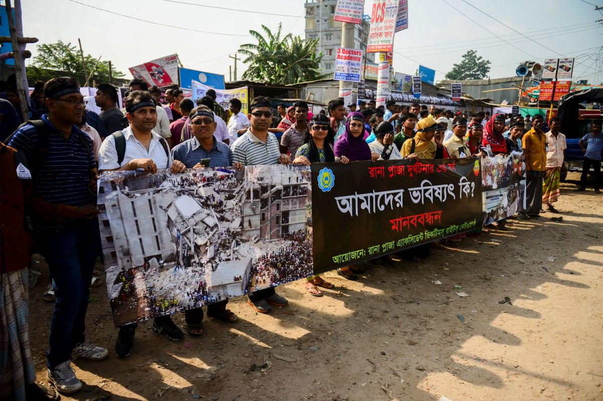 Bangladeshi protestors on the third anniversary of the Rana Plaza collapse. Photo: Munir Uz Zaman/Getty