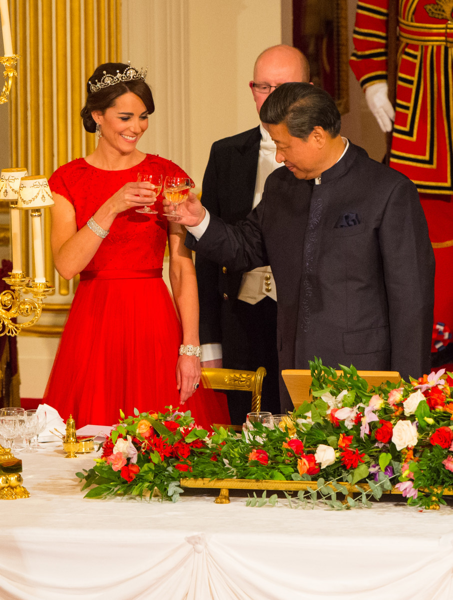 The Duchess of Cambridge and Chinese President Xi Jinping at a state banquet at Buckingham Palaceon Oct. 20, 2015. Photo: Dominic Lipinski/WPA Pool /Getty Images