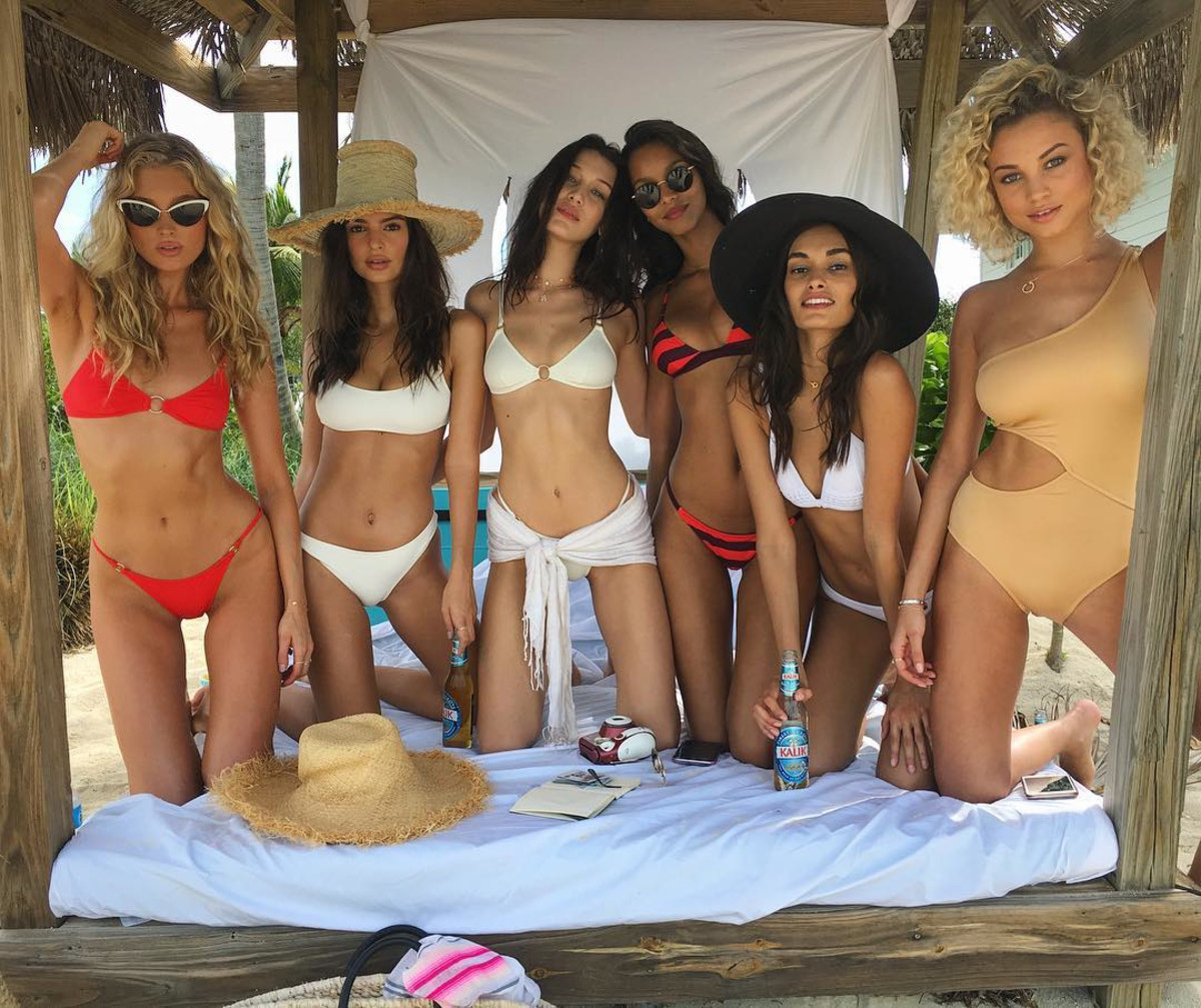 From left: Elsa Hosk, Emily Ratajkowski, Bella Hadid, Lais Ribeiro, Gizele Oliveira and Rose Bertram. Photo: Instagram/@rose_bertram