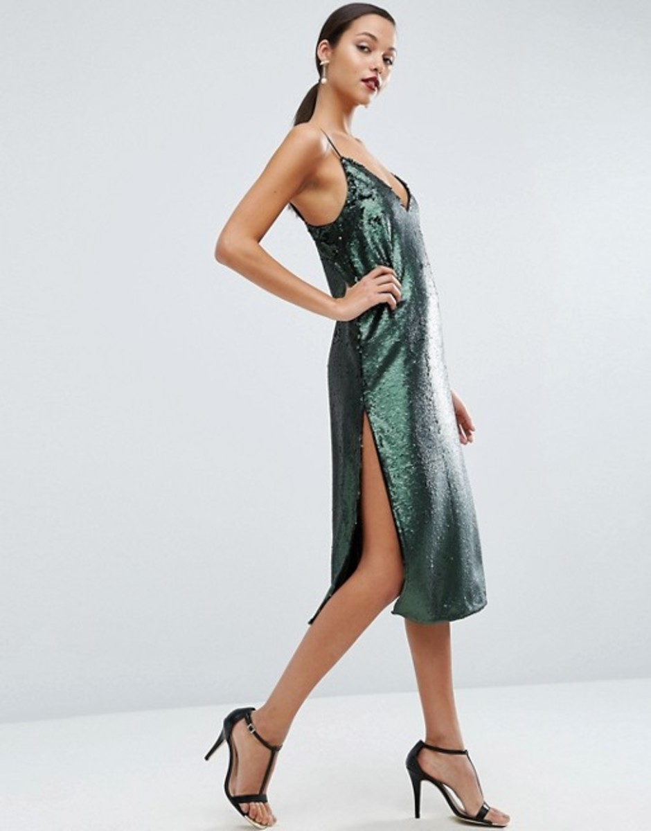 ASOS Sequin Plunge Splice Midi Dress, $98, available on ASOS.