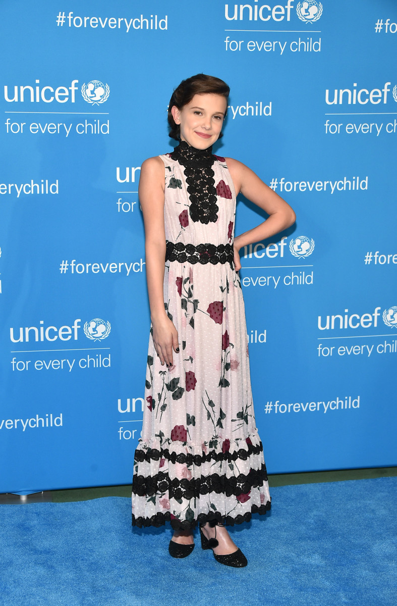 Millie Bobby Brown in Kate Spade New York at UNICEF's 70th Anniversary Event in New York City on Monday. Photo: Mike Coppola/Getty Images