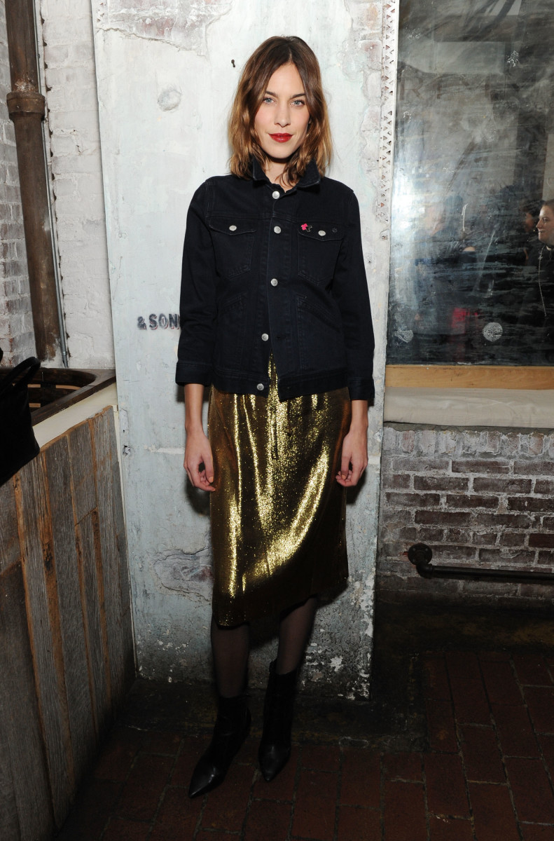 Alexa Chung (in an AG denim jacket and an HVN dress) attends the AG dinner for HeForShe. Photo: Craig Barritt/Getty Images