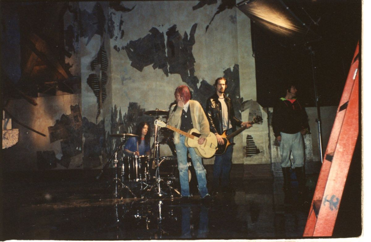 "Nirvana on the set of ""Come as You Are."" Photo: Courtesy of Nancy Steiner"