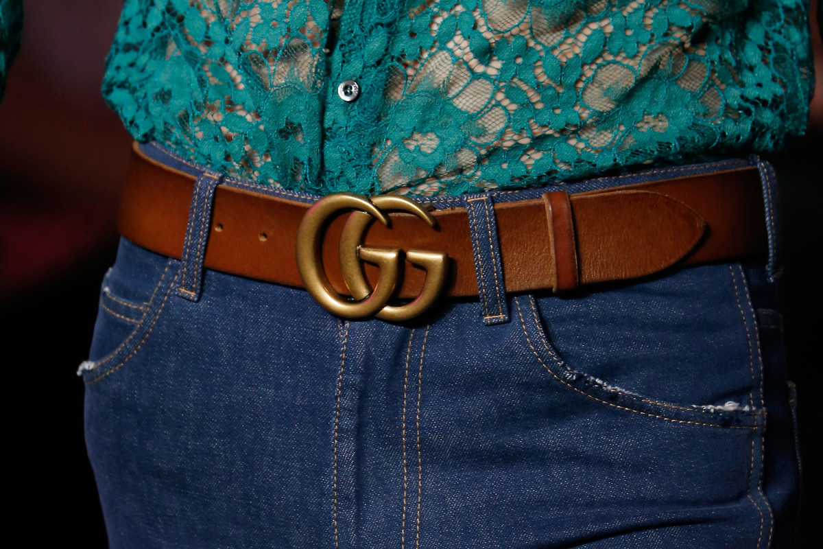 The Gucci logo on a men's belt. Photo: Pietro D'Aprano/Getty Images