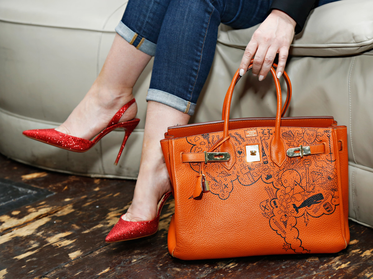 A graffitied Hermes Birkin. Photo: Cindy Ord/Getty Images