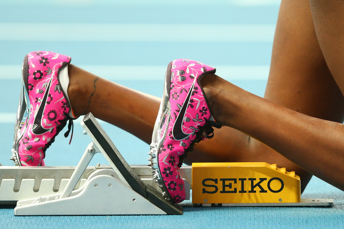 Perri Shakes-Drayton wearing a pair of Nikes on the starting block. Photo: Paul Gilham/Getty Images