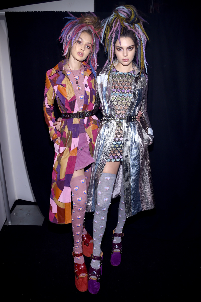 Gigi Hadid and Kendall Jenner at the Marc Jacobs spring 2017 runway show. Photo: Dimitrios Kambouris/Getty Images
