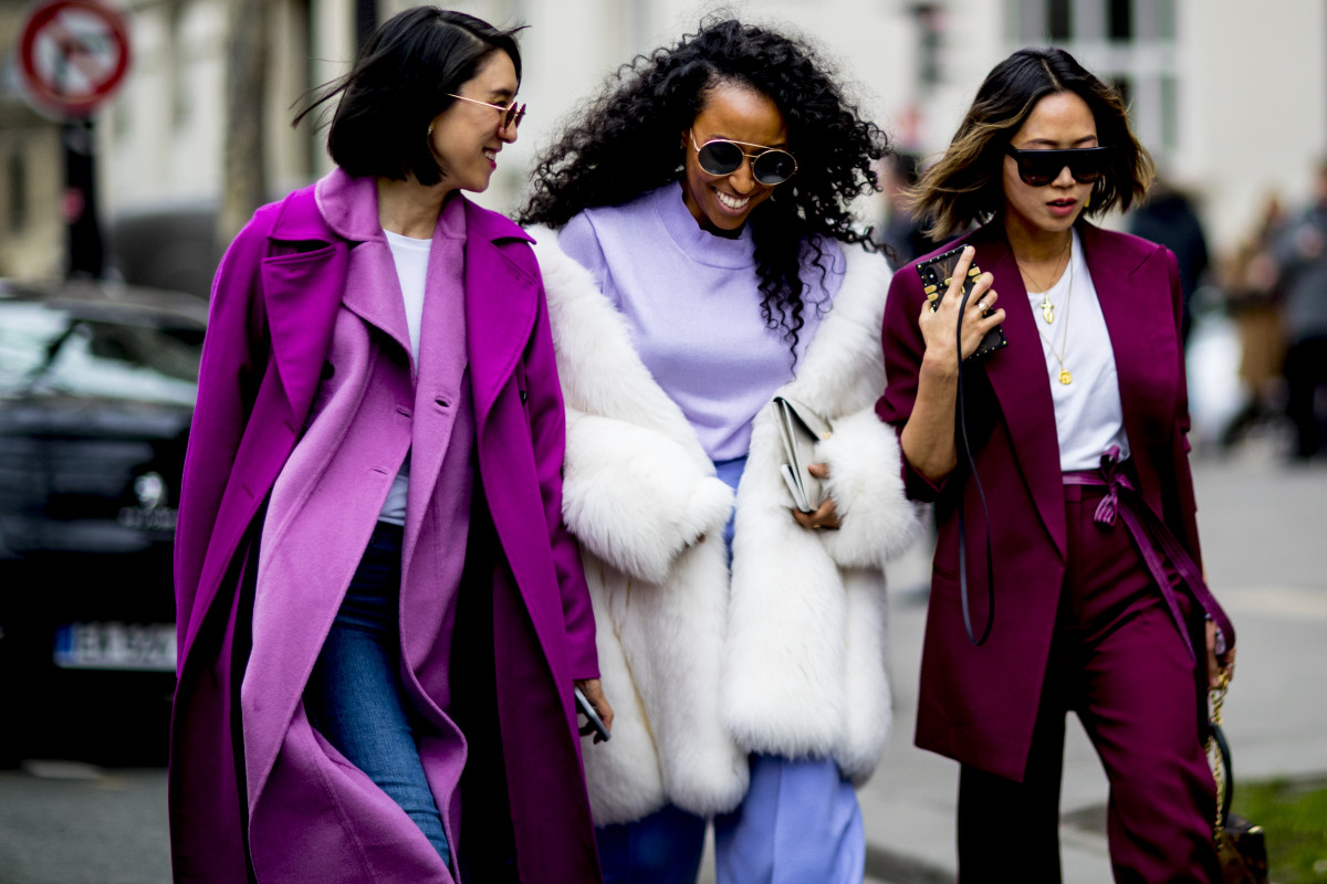 Eva Chen, Shiona Turini and Aimee Song at Paris Fashion Week Fall 2018. Photo: Imaxtree