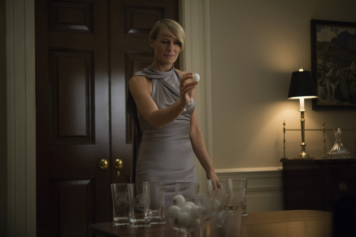 What I'd wear to play beer pong. Claire Underwood (Robin Wright) in a Ralph Lauren fall 2014 look. Photo: David Giesbrecht/Netflix