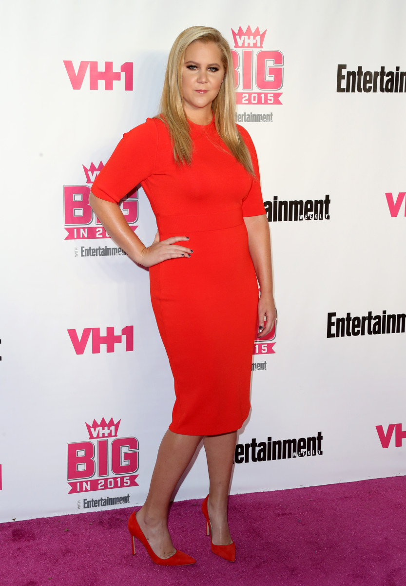 "Amy Schumer on the VH1 Big in 2015 red carpet in a custom dress by ALC by Andrea Lieberman, who also designed a dress she wore through most of ""Snatch."" Photo: Frederick M. Brown/Getty Images"