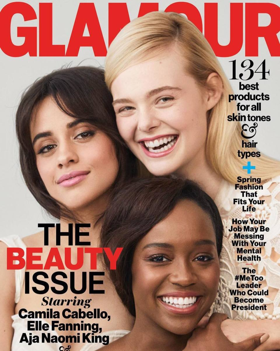 "Elle Fanning, Camila Cabello and Aja Naomi King on the April cover of ""Glamour."" Photo: @glamourmag/Instagram"