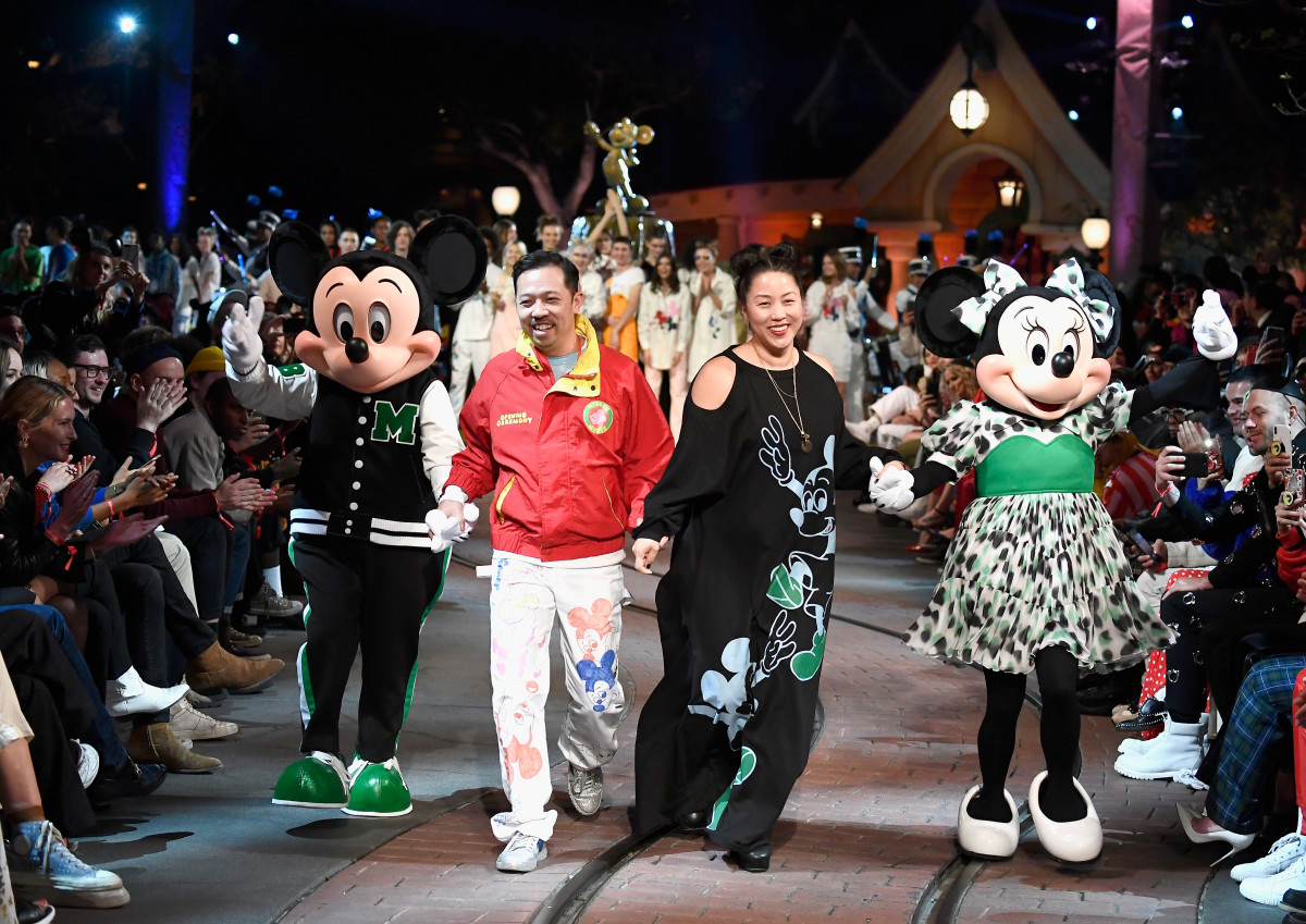 Mickey Mouse, Humberto Leon, Carol Lim and Minnie Mouse. Photo: Frazer Harrison/Getty Images