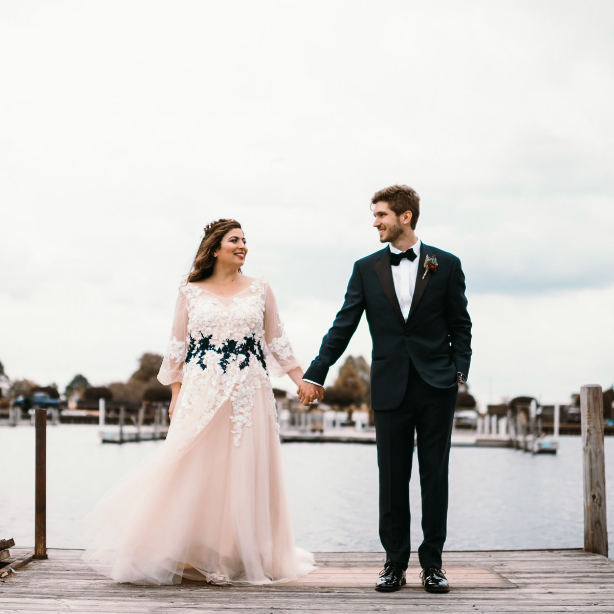 Alexandria wears her custom-designed Anomalie wedding dress. Photo: Maddie Blecha Photography