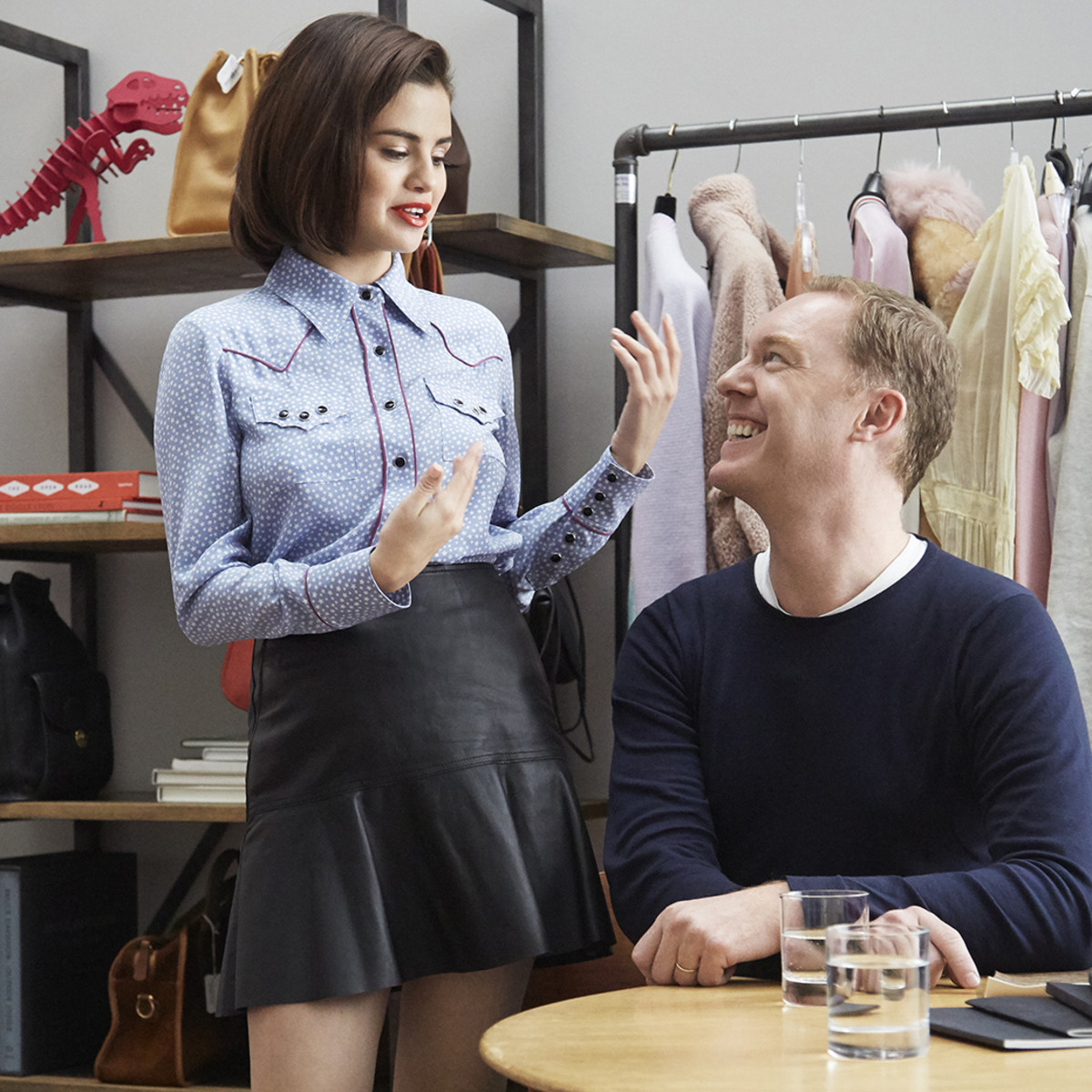Selena Gomez with Creative Director Stuart Vevers. Photo: Coach