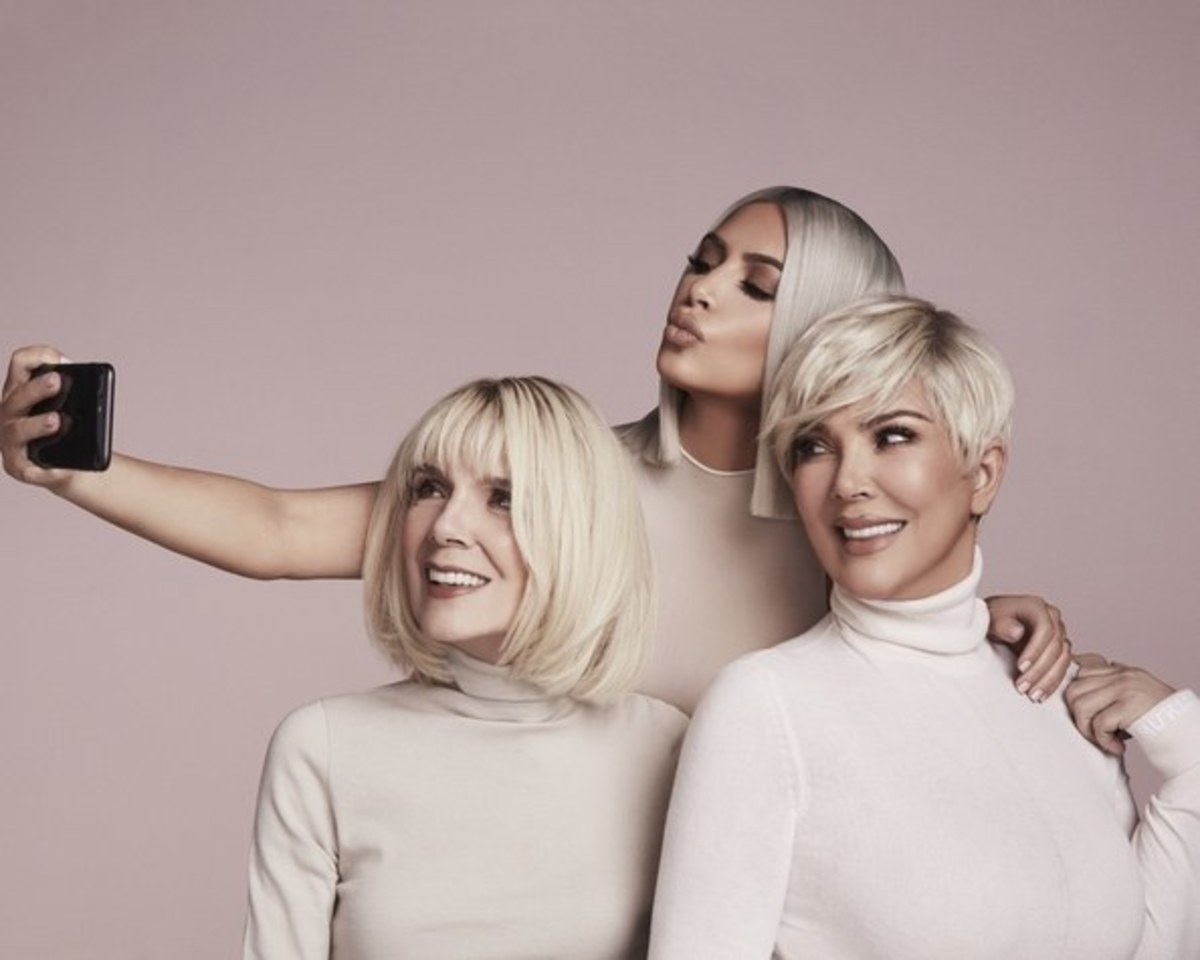 Kim Kardashian posing with mom Kris Jenner and grandma M.J. Shannon in the KKW Beauty Concealer Kit campaign. Photo: Courtesy of KKW Beauty
