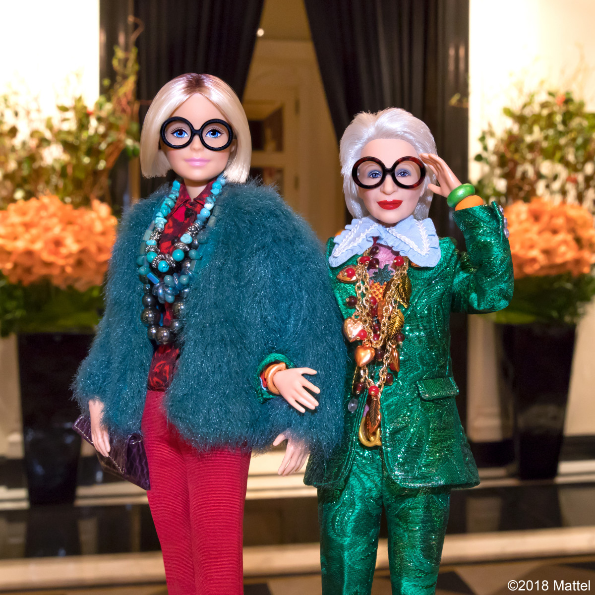 Barbie and Iris Apfel's Barbie at the Carlyle Hotel. Photo: Courtesy of Mattel
