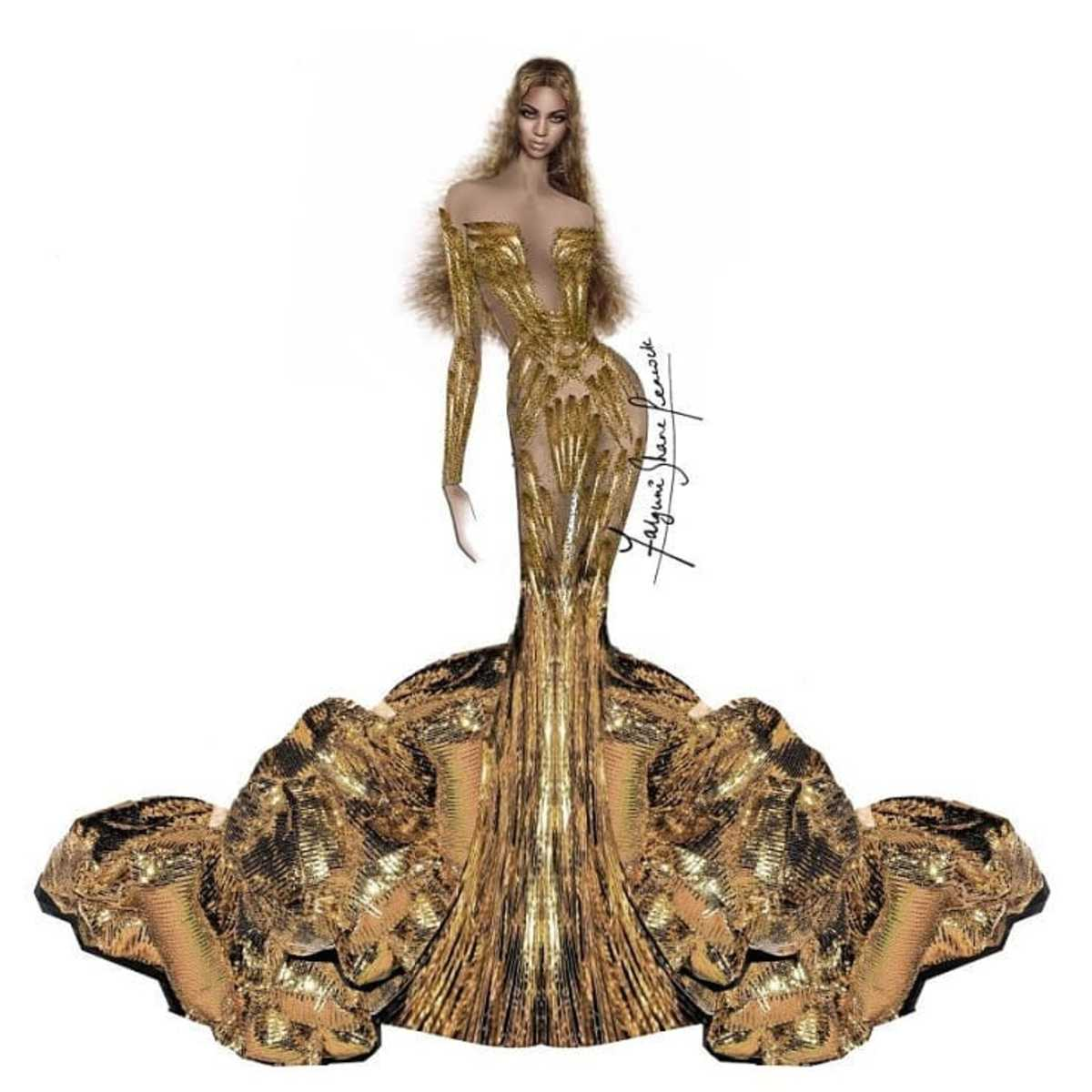 A sketch of Beyoncé's Wearable Art Gala gown designed by Indian fashion house Falguni Shane Peacock. Photo: @wwd/Instagram
