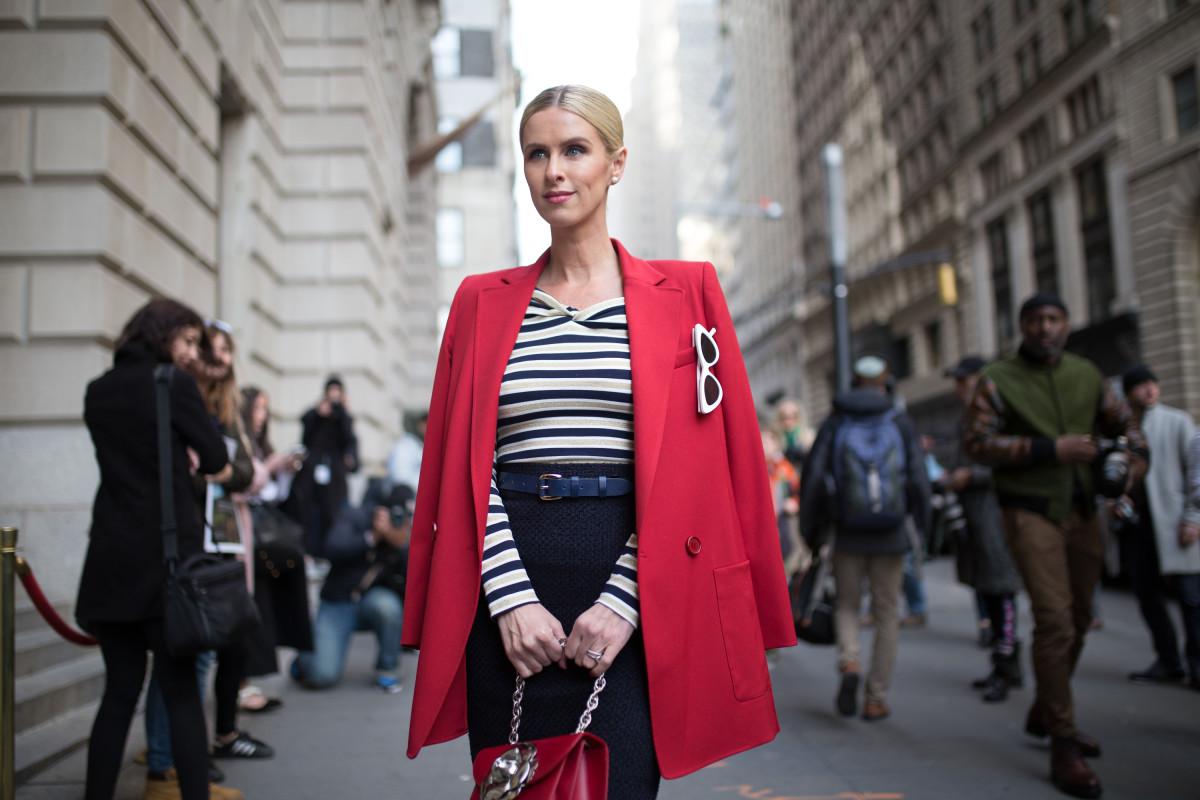 Nicky Hilton Rothschild outside Oscar de la Renta's Fall 2018 show during New York Fashion Week. Photo: Matthew Sperzel/Getty Images