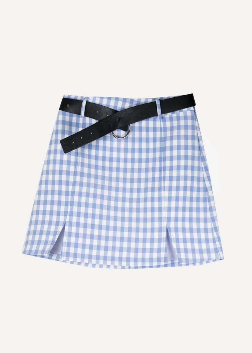 Gingham Light Blue Mini Skirt, $129, available at the Frankie Shop.