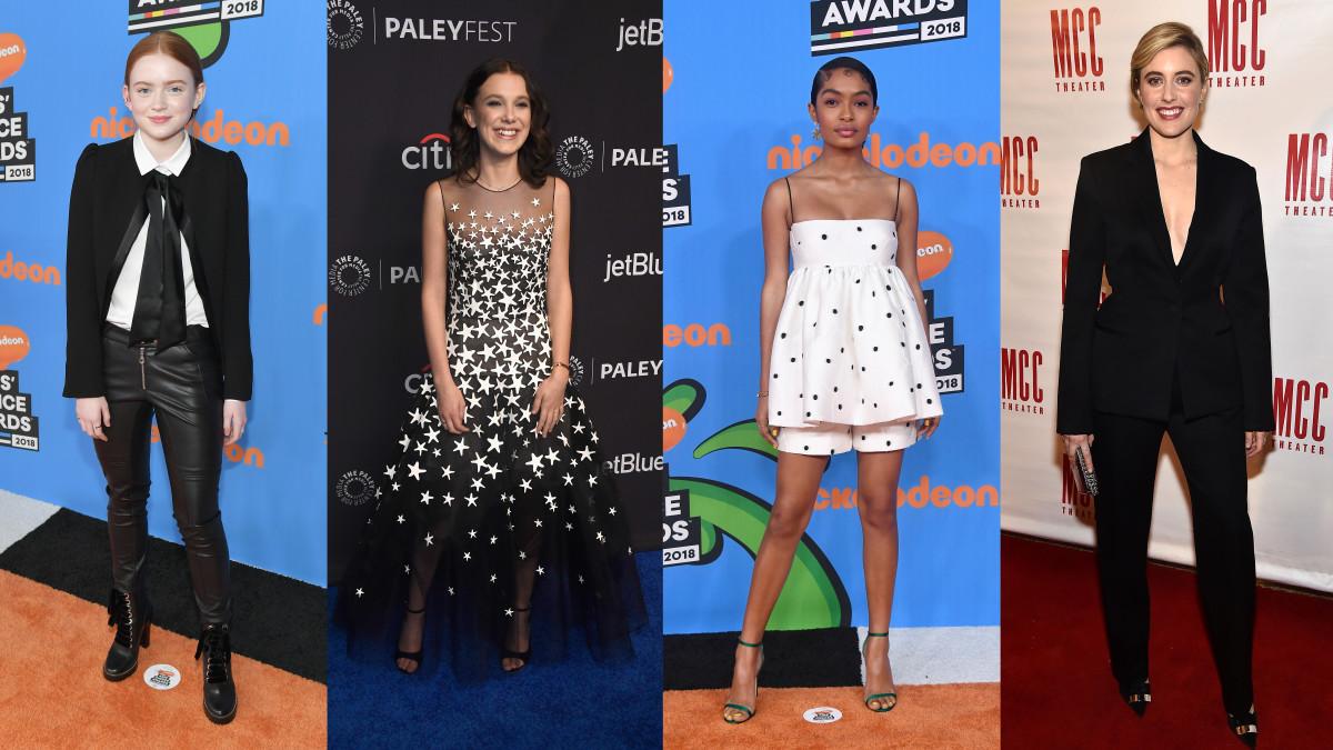 Sadie Sink, Millie Bobby Brown, Yara Shahidi and Greta Gerwig. Photos: Getty Images