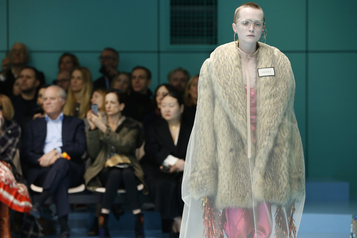 A look from Gucci's Fall 2018 collection. In October, the fashion house announced its plans to ban fur beginning with its Spring 2018 collection. Photo: Estrop/Getty Images
