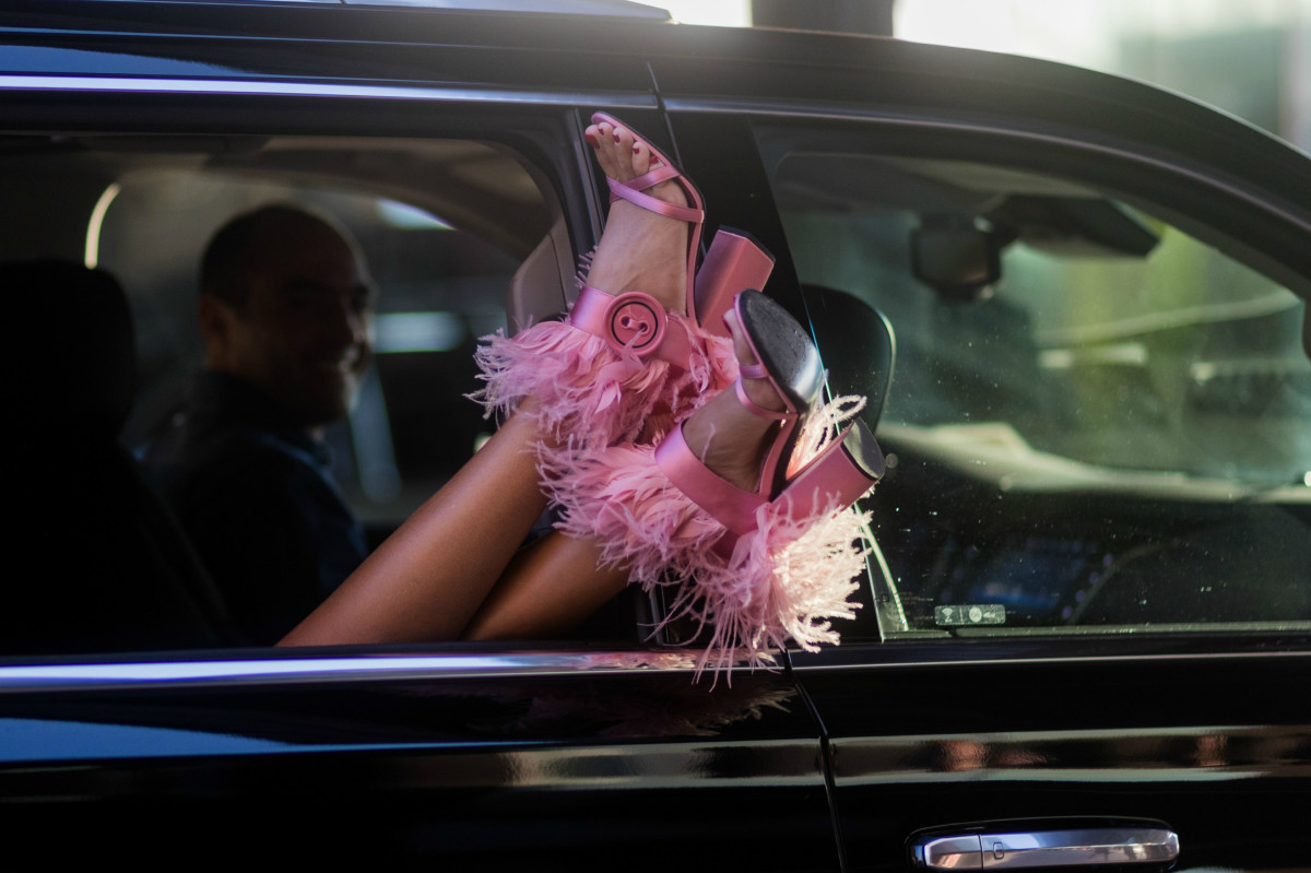 The perfect pink feathered sandals, courtesy of — who else? — Giovanna Battaglia Engelbert during New York Fashion Week. Photo: Christian Vierig/Getty Images
