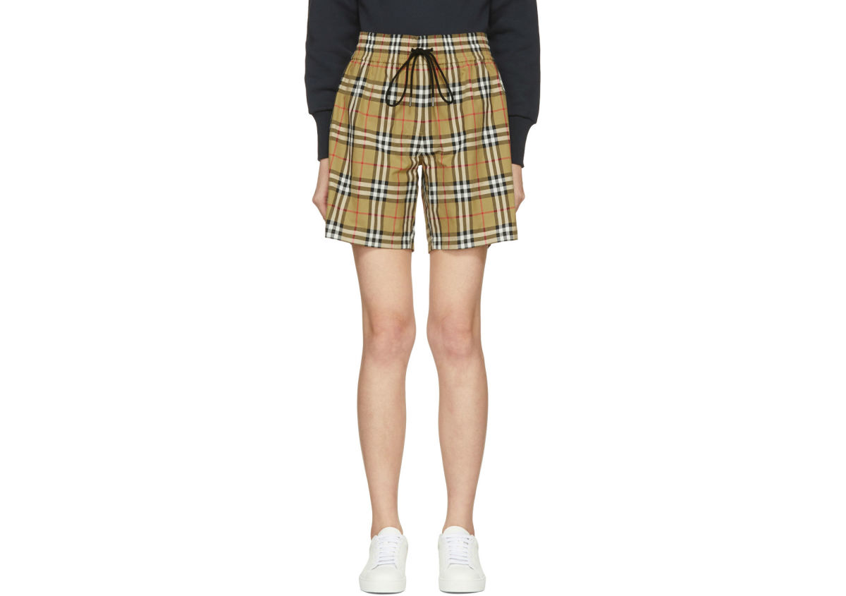 Burberry Beige Vintage Check Shorts, $350, available at SSENSE.