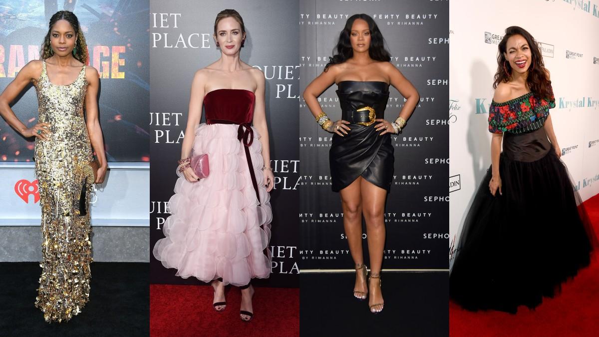 Naomie Harris, Emily Blunt, Rihanna and Rosario Dawson. Photos: Miu Miu, Oscar de la Renta, Versace, Getty