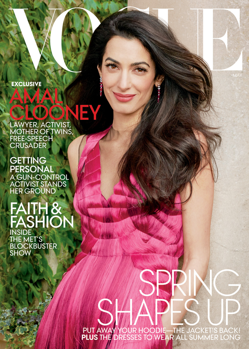 "Amal Clooney on the May 2018 cover of ""Vogue"" in Alexander McQueen. Photo: Annie Leibovitz/Vogue"