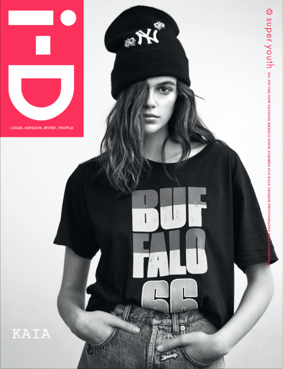 """Kaia Gerber on the cover of """"i-D""""'s new """"Fashion Rebels"""" issue. Photo: Mario Sorrenti/""""i-D"""""""