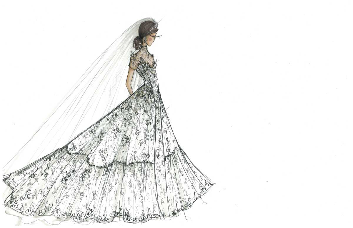Envisioning Meghan Markle in Oleg Cassini at David's Bridal. Sketch: courtesy David's Bridal