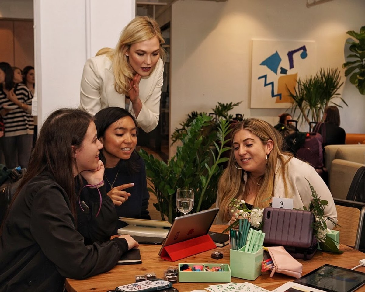 Me (in the middle) attempting to code at Away's Kode With Klossy event. Photo: Away