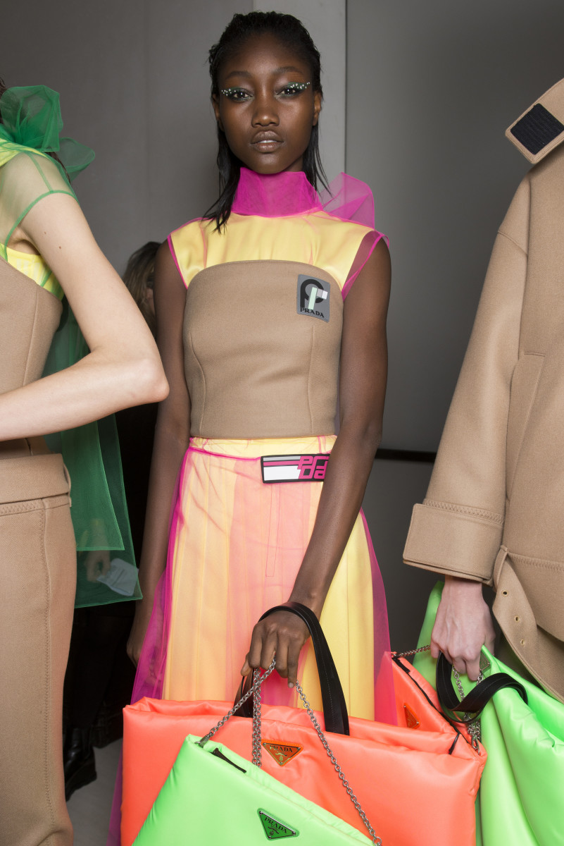 Eniola Abioro at the 2018 Prada show. Photo: Imaxtree