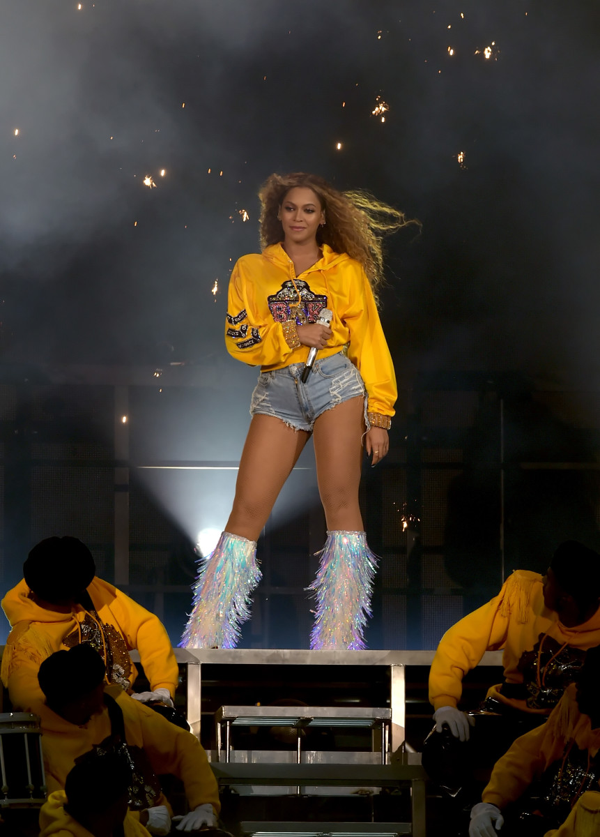 Beyoncé performs at Coachella in custom Balmain. Photo: Kevin Winter/Getty Images