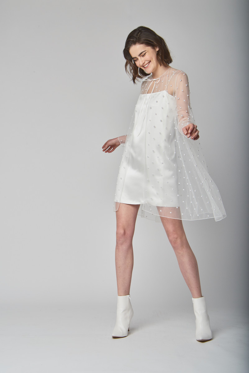 The Penny cape and Lane mini-dress from Alexandra Grecco's Spring 2019 bridal collection. Photo: Courtesy