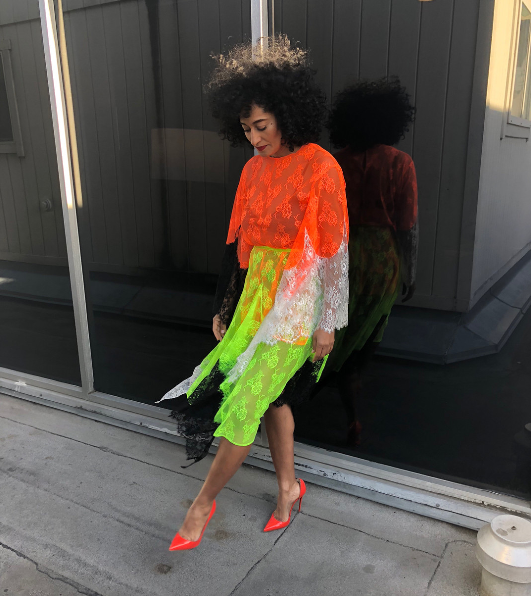 "Tracee Ellis Ross in Christopher Kane for an appearance on ""The Late Late Show"" in Los Angeles on Monday. Photo: @traceeellisross/Instagram"