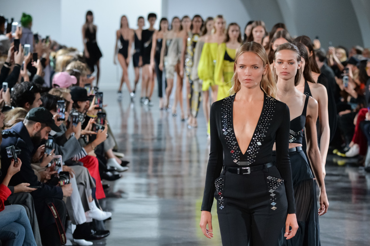 The finale of Mugler's Spring 2018 show during Paris Fashion Week; this presentation was designer David Koma's last for the house. Photo: Francois Durand/Getty Images