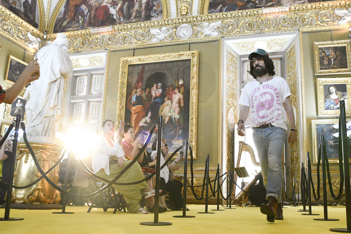 Alessandro Michele at Gucci's Cruise 2018 show at Palazzo Pitti in Florence. Photo: Pietro D'Aprano/Getty Images