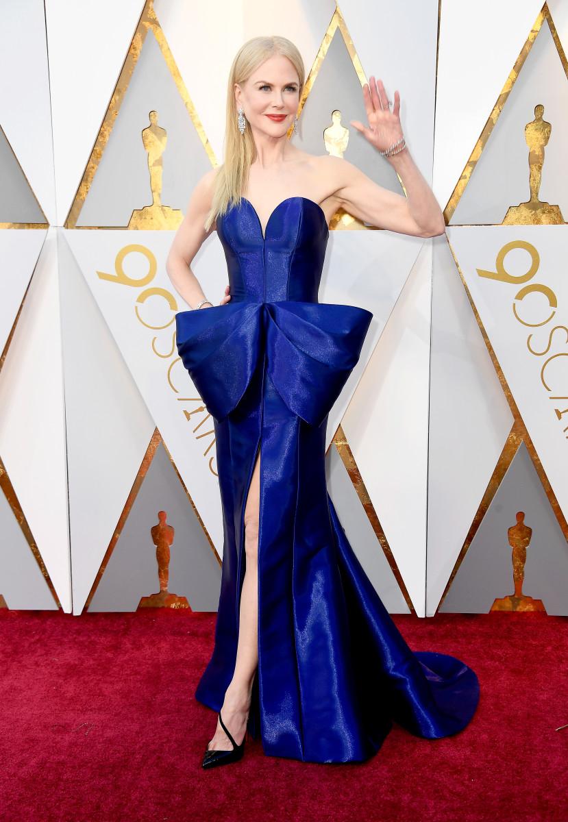 Nicole Kidman at the 2018 Academy Awards styled by Julia von Boehm. Photo: Frazer Harrison/Getty Images