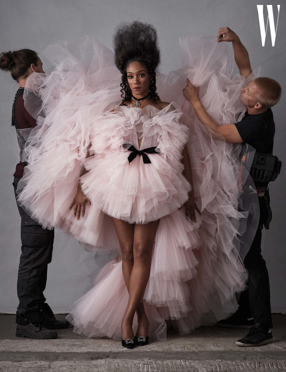"Tiffany Haddish in a Giambattista Valli Haute Couture gown on the cover of ""W"" Magazine. Photo: Ethan James Green"