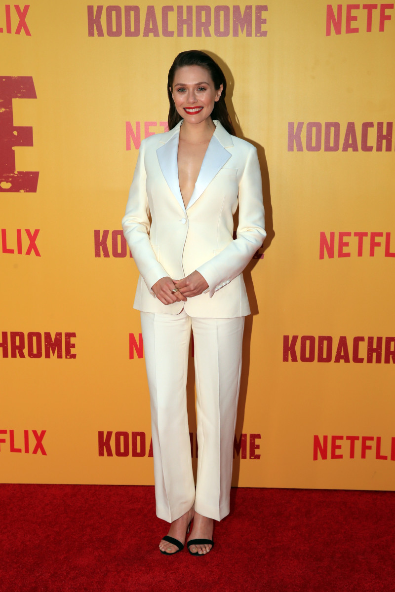 "Elizabeth Olsen in Dior at the premiere of ""Kodachrome"" in Hollywood. Photo: Christopher Polk/Getty Images"