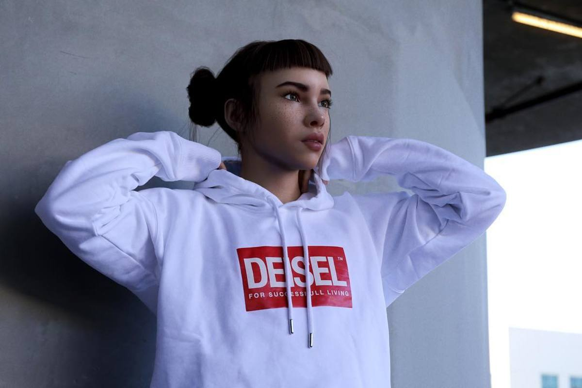 Miquela Sousa in Diesel. Photo: @lilmiquela/Instagram