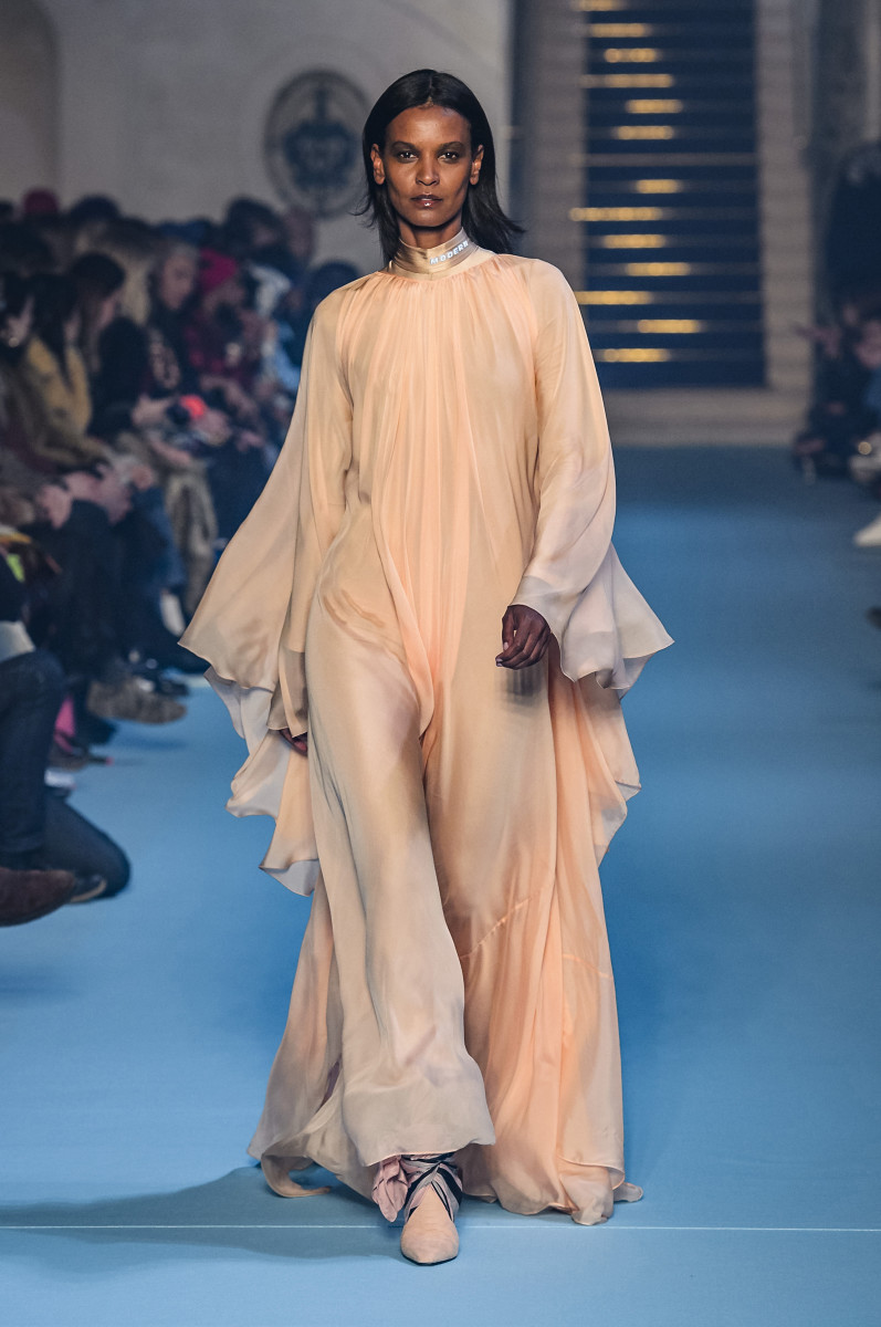 Kebede walking the runway for Off-White's Fall 2018 show. Photo: Imaxtree