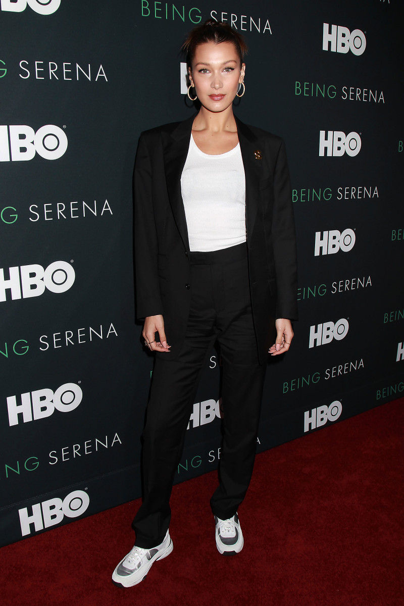 "Bella Hadid at the HBO premiere of ""Being Serena."" Photo: HBO/Starpix, Dave Allocca"
