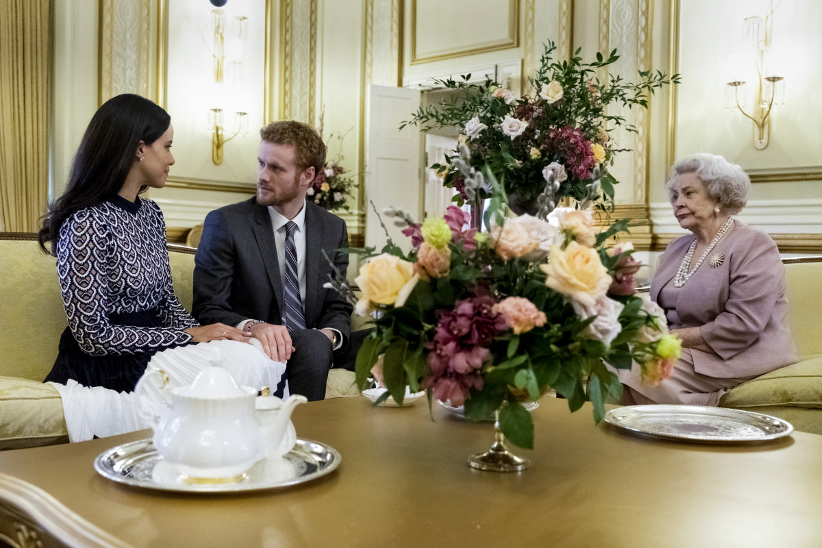 Megs and Harry meet the Queen (Maggie Sullivun). Photo: Courtesy of Lifetime