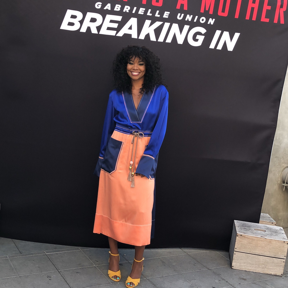"""Gabrielle Union in Peter Pilotto at a meet and greet for """"Breaking In"""". Photo: @breakinginmovie/Instagram"""