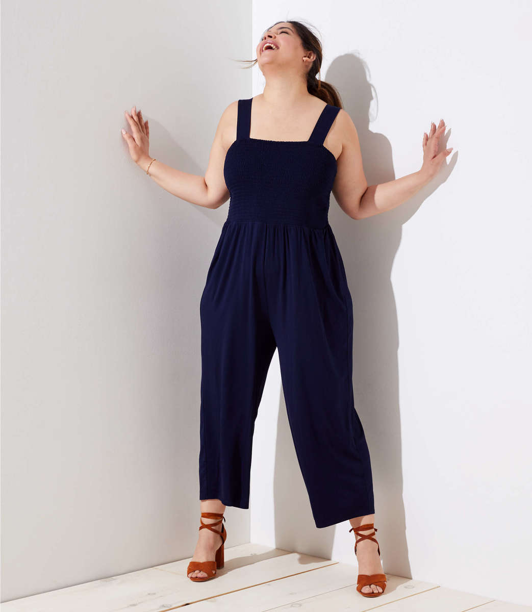 Smocked Wide Leg Jumpsuit, $89.50, available at Loft Plus.